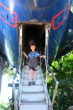 Descending out of the fuselage. Anaconda Restaurant. Manuel Antonio Park, Costa Rica
