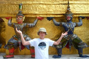 Posing with the art at the Grand Palace. Bangkok, Thailand