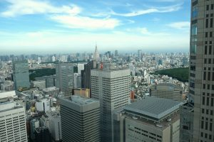 Looking out over Tokyo from the Government Building. Japan
