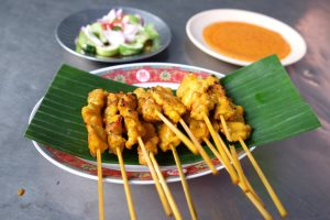 Chicken Satay with cucumber salad
