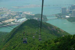 Views of Lantau Island from the Ngong Ping cable car