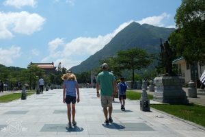 Walking towards Tian Tan Buddha on Lantau Island