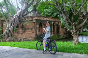 Riding around the grounds of the Dhara Dhevi