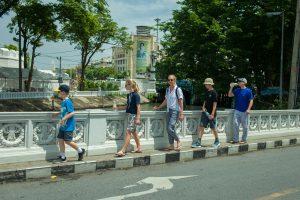 Walking along the city streets