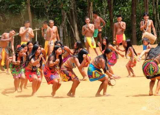 Women of the native Embera Tribe performing a dance for us