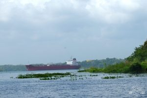 A gas tanker crossing Gatun Lake in the Panama Canal