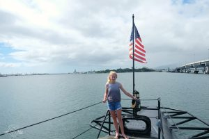 Looking out to the USS Arizona from the top of the USS Bowfin submarine