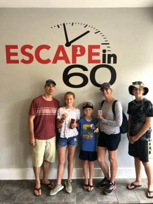 """Our stickers say """"We ALMOST Escaped!"""" But we had a ton of fun!"""