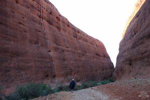 Hiking Walpa Gorge at Kata Tjuta at sunrise. Uluru Australia