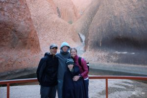 Early morning base walk around Uluru - who knew there was a huge watering hole? Uluru Australia