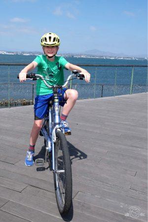 Biking along the Silver Strand on Coronado Island. San Diego California