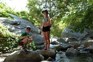 Rock hopping at the falls. Tahquitz Falls Hike, Palm Springs California