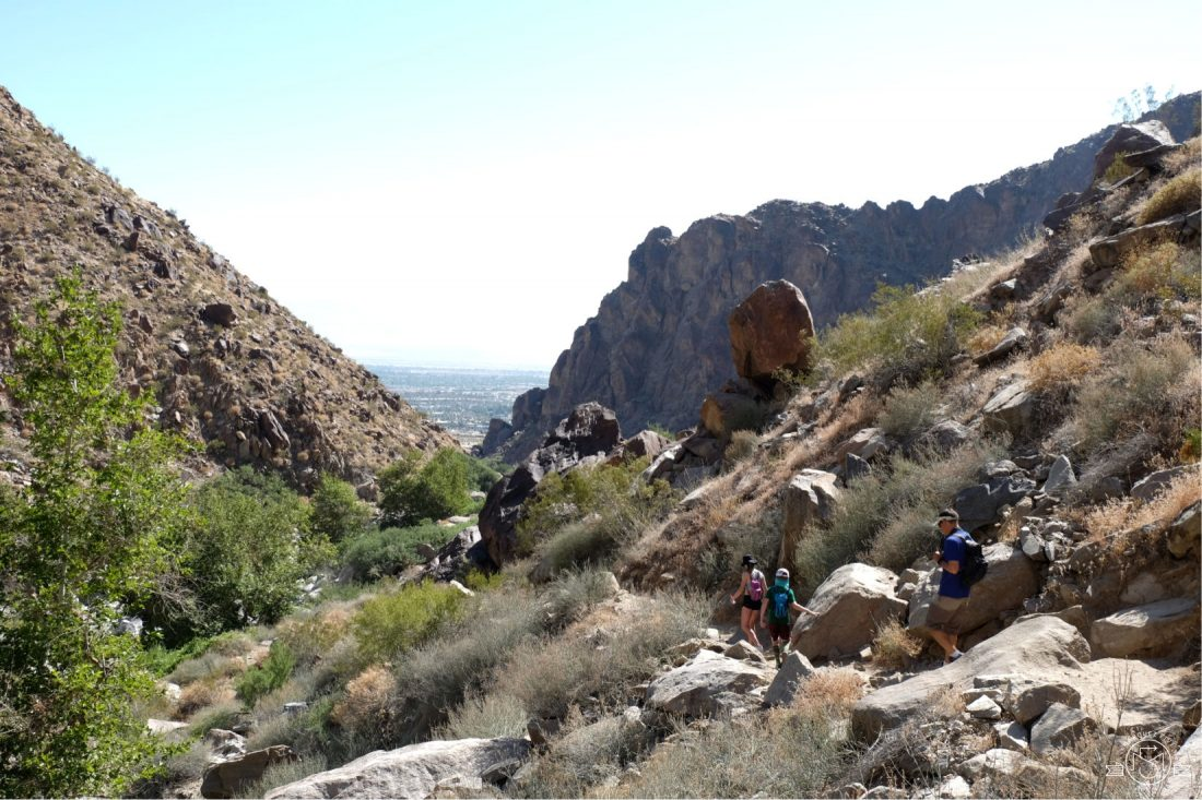 Leaving the falls and heading back down the trail. Tahquitz Falls Hike. Palm Springs, California