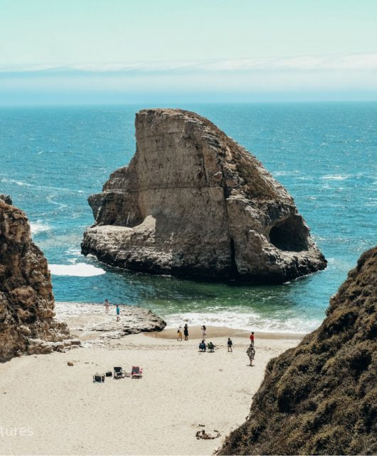Shark Fin Cove in Davenport. Shark Fin Beach. California