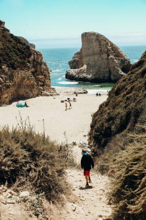 Steep path down to the beach. Shark Fin Cove Beach. Davenport, California