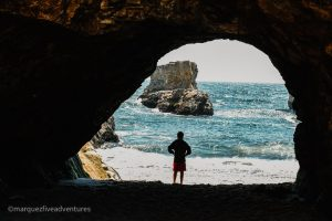 Cave tunnel that goes straight to the water! Shark Fin Cove Beach. Davenport, California