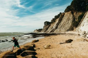 Rock hopping at Bowling Ball Beach. Schooner Gulch State Beach. Point Arena California. Mendocino County