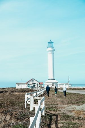 Lighthouse in a thin marine layer. Point Arena, California. Mendocino County