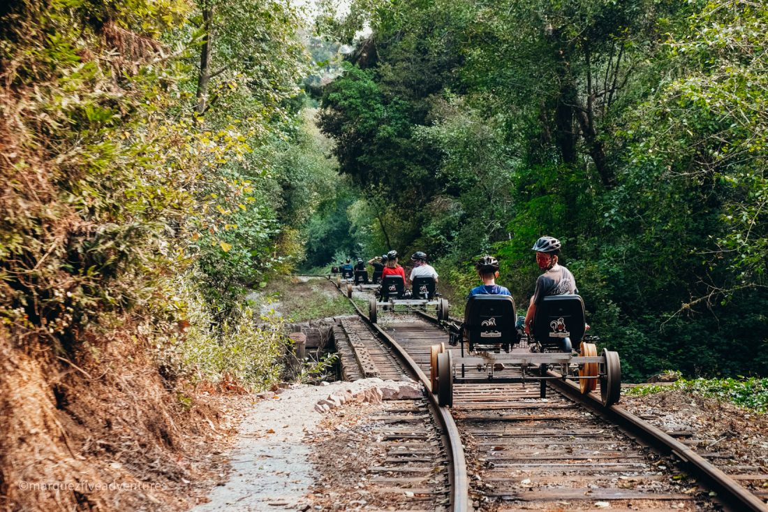 Skunk Train Railbikes. Fort Bragg, California. Mendocino County