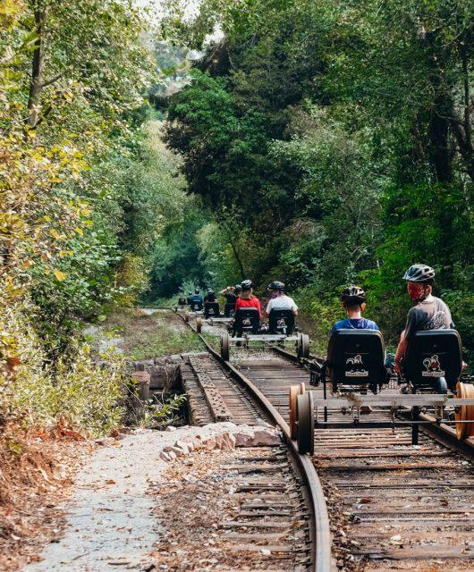 Skunk Train Railbikes. Fort Bragg, California. Mendocino County