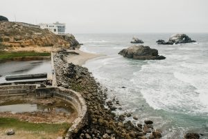 Cliff House and Sutro Baths. San Francisco, California. Land's End Trail