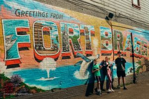 Enjoying Cowlicks Ice Cream and street art. Fort Bragg, California. Mendocino County