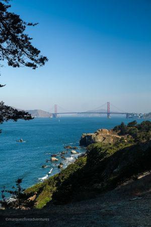 Golden Gate Bridge view. Land's End Trail San Francisco California