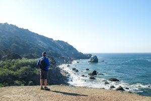 Looking out over Mile Rock Beach. Lands End Trail San Francisco, California