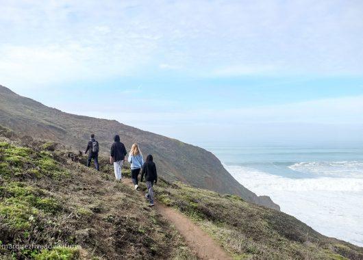 Hiking along the Bluff Trail at Mori Point. Mori Point Trail. Pacifica, California