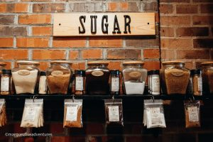 A sampling of sugars at the Spice & Tea Exchange. Charleston, South Carolina