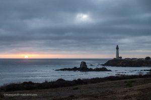 Watching the sun set. Pigeon Point Lighthouse. Pescadero, California. San Mateo County