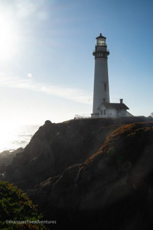 The lighthouse from Mel's Lane. Pescadero, California. San Mateo County. Pigeon Point