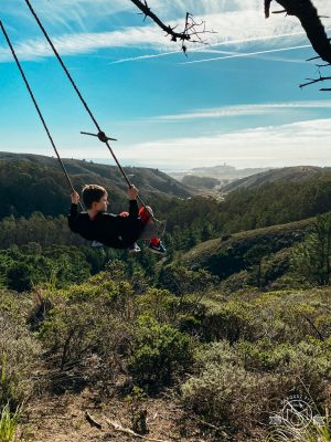 Obviously, this swing was the favorite part of their hike! Rancho Corral de Tierra. Moss Beach, California