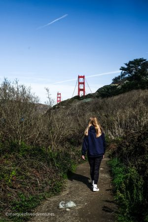 First glimpse of the bridge! Golden Gate Bridge. San Francisco, California