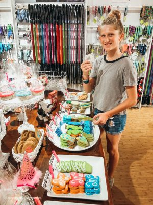 Picking out dog treats at Woof Gang Bakery on King Street. Charleston, South Carolina