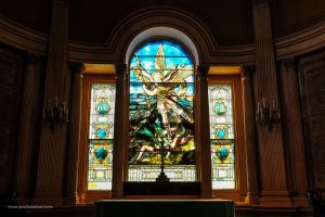 Beautiful stained glass inside a church. Charleston, South Carolina