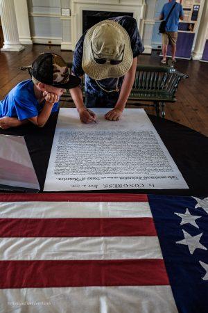 Signing the Declaration of Independence. Charleston, South Carolina