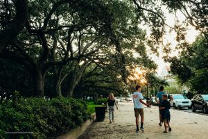 Walking through White Point Garden. Charleston, South Carolina