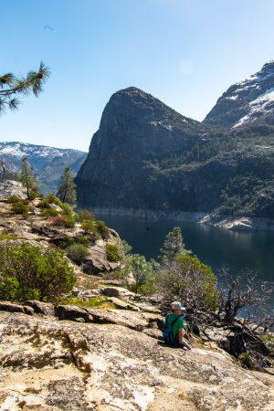 Admiring the view. Hetch Hetchy Reservoir. Yosemite National park