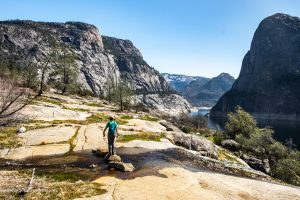 Hetch Hetchy Reservoir. Wapama Falls. Yosemite National Park. California.