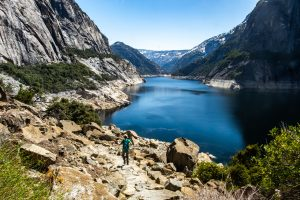 Wapama Falls Hike. Hetch Hetchy Reservoir. Yosemite National Park