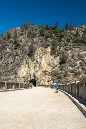 Walking across O'Shaughnessy Dam. Hetch Hetchy Reservoir. Yosemite National Park