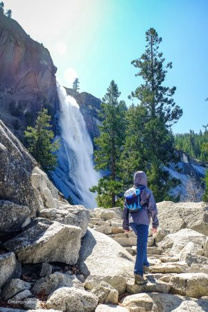 Almost to the top of Nevada Falls! The Mist Trail. Yosemite National Park. California